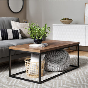 Doxa Modern Industrial Wood Coffee Table with Black Metal Box Frame and Dark Walnut Finish