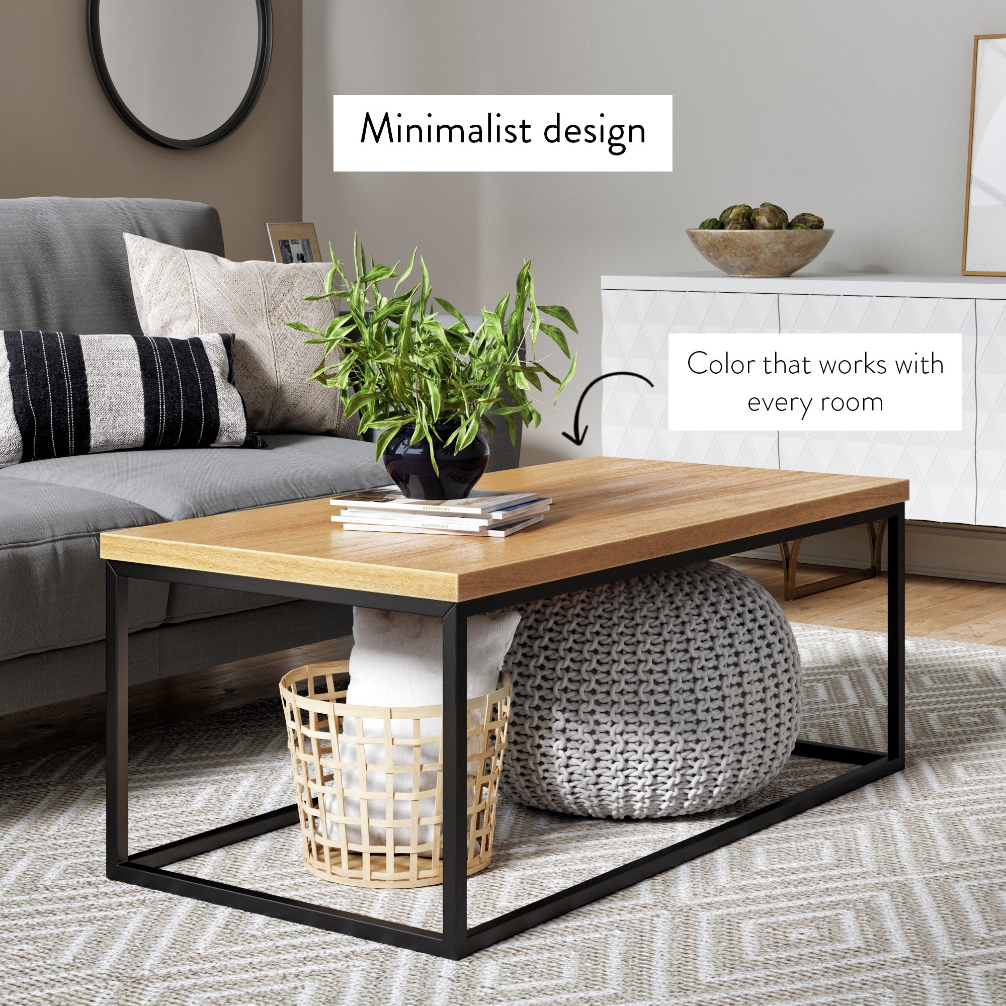 Doxa Modern Industrial Wood Coffee Table with Black Metal Box Frame and Natural Oak Finish