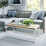 Doxa Modern Industrial Wood Coffee Table with White Metal Box Frame and Light Brown Oak Finish