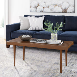 Clyde Rustic Brown Mid-Century Bench-Style Coffee Table