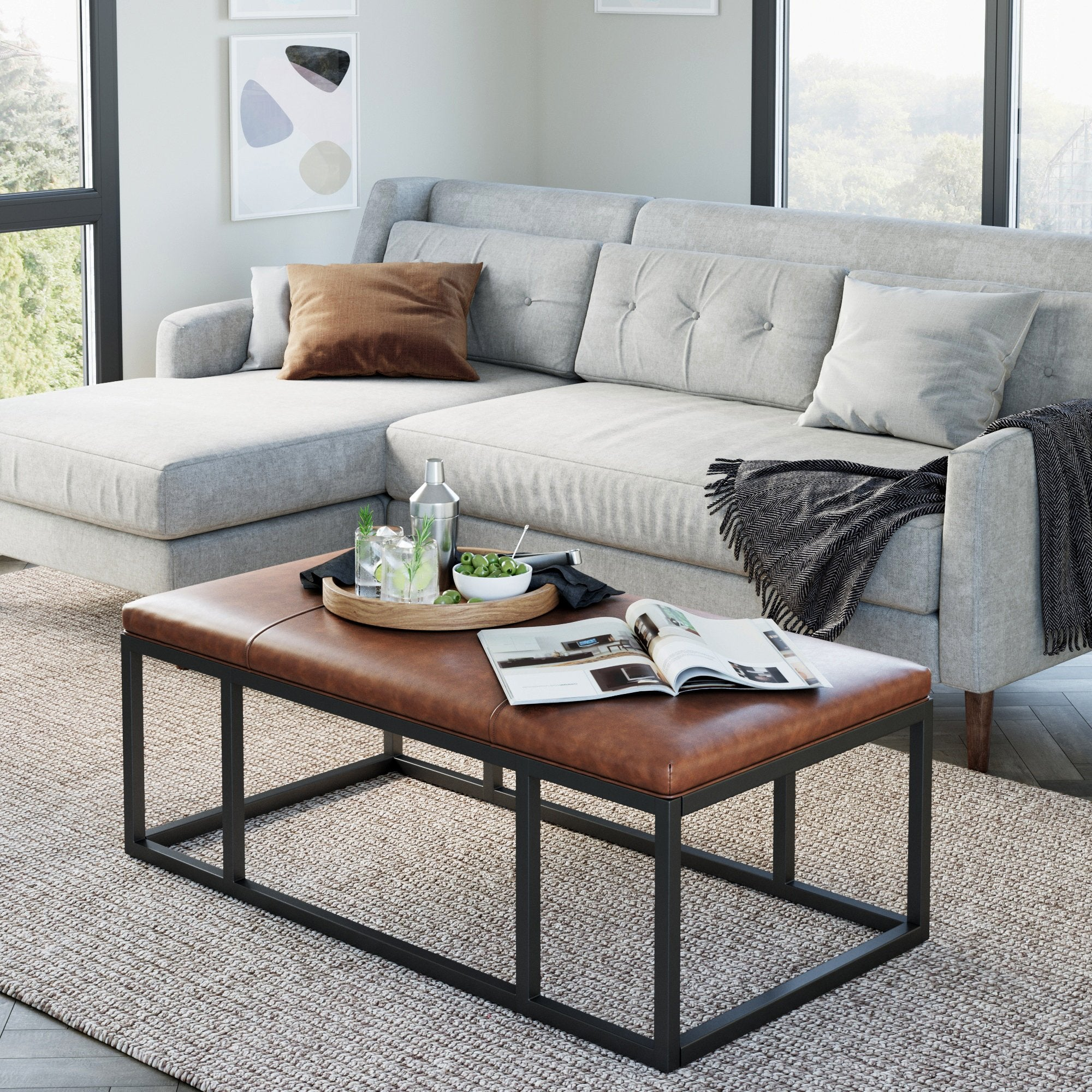 Picture of: Nelson Warm Brown Faux Leather Tuft And Matte Black Iron Frame Ottoman Bench Nathan James