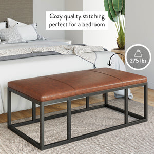 Nelson Warm Brown Faux Leather Tuft and Matte Black Iron Frame Ottoman Bench