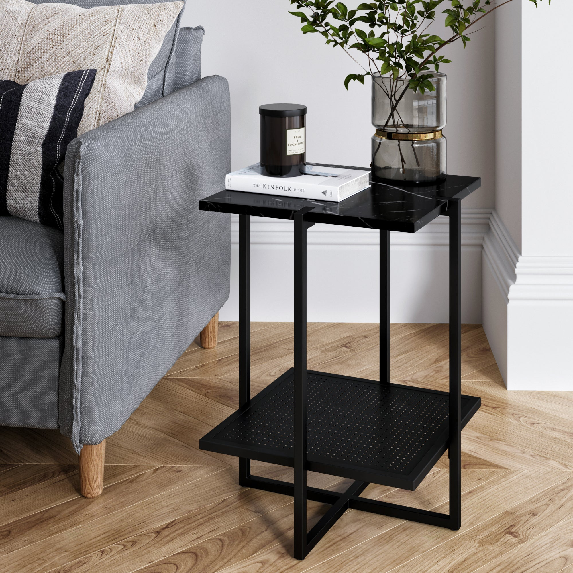 Myles Nightstand Side Table With Black Marble Top And Black Metal Base