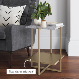Myles Nightstand Side Table with White Marble Top and Gold Metal Base