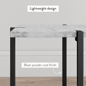 Myles Nightstand Side Table with White Marble Top and Black Metal Base