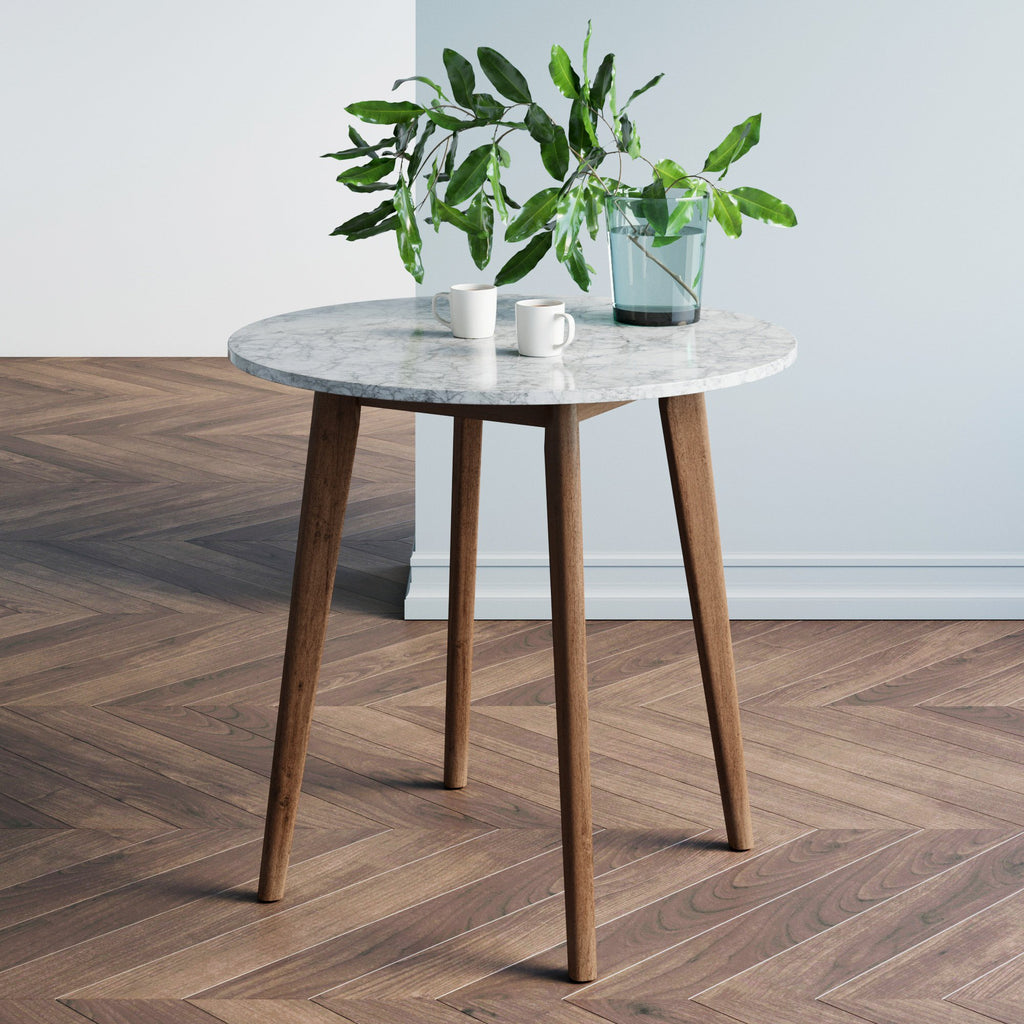 Amalia Antique Coffee Marble-Laminate Round Bistro Dining Table