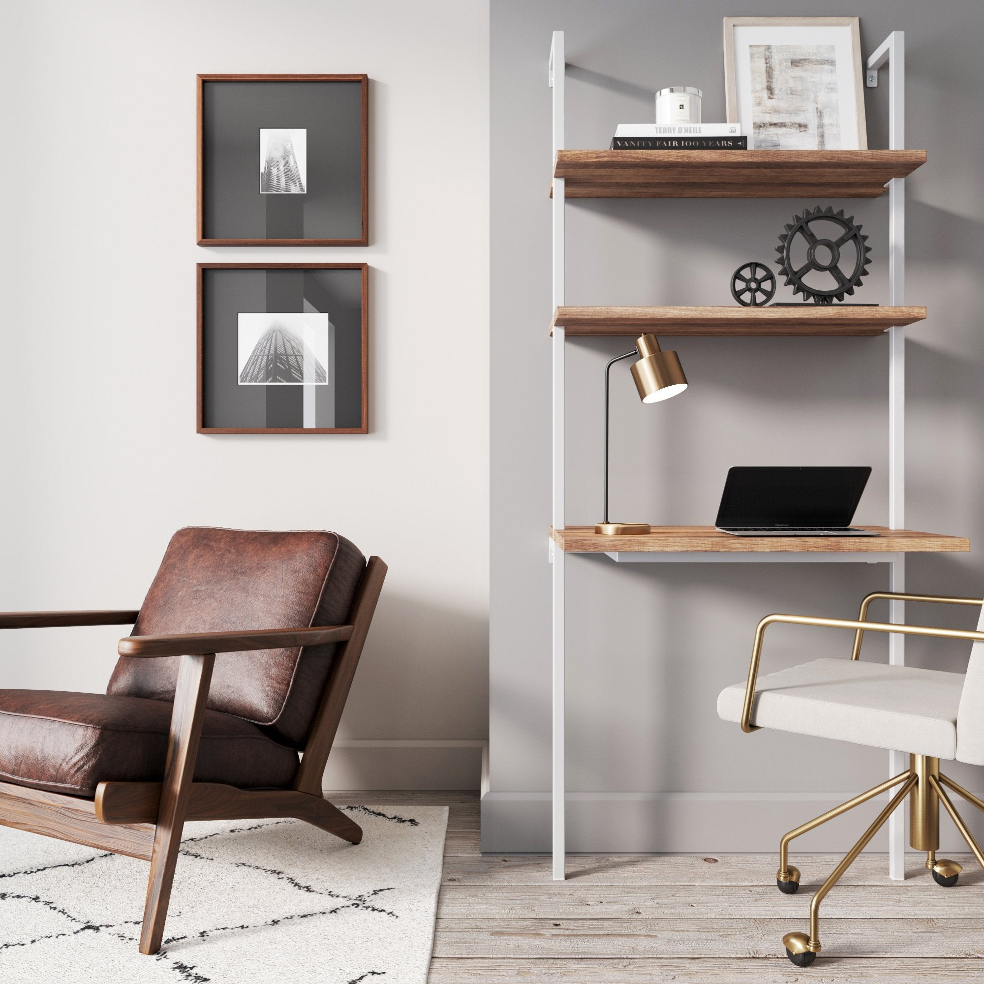 Theo 2 Shelf Industrial Wall Mount Ladder Desk Small Computer Or Writing Desk Rustic Oak White Nathan James
