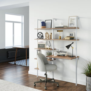Theo 2-Shelf Industrial Wall Mount Ladder Desk, Small Computer or Writing Desk, Rustic Oak/ White