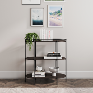 Paloma 3 Shelf Bookcase, Small Modern Oval Bookshelf, Dark Oak/Matte Black