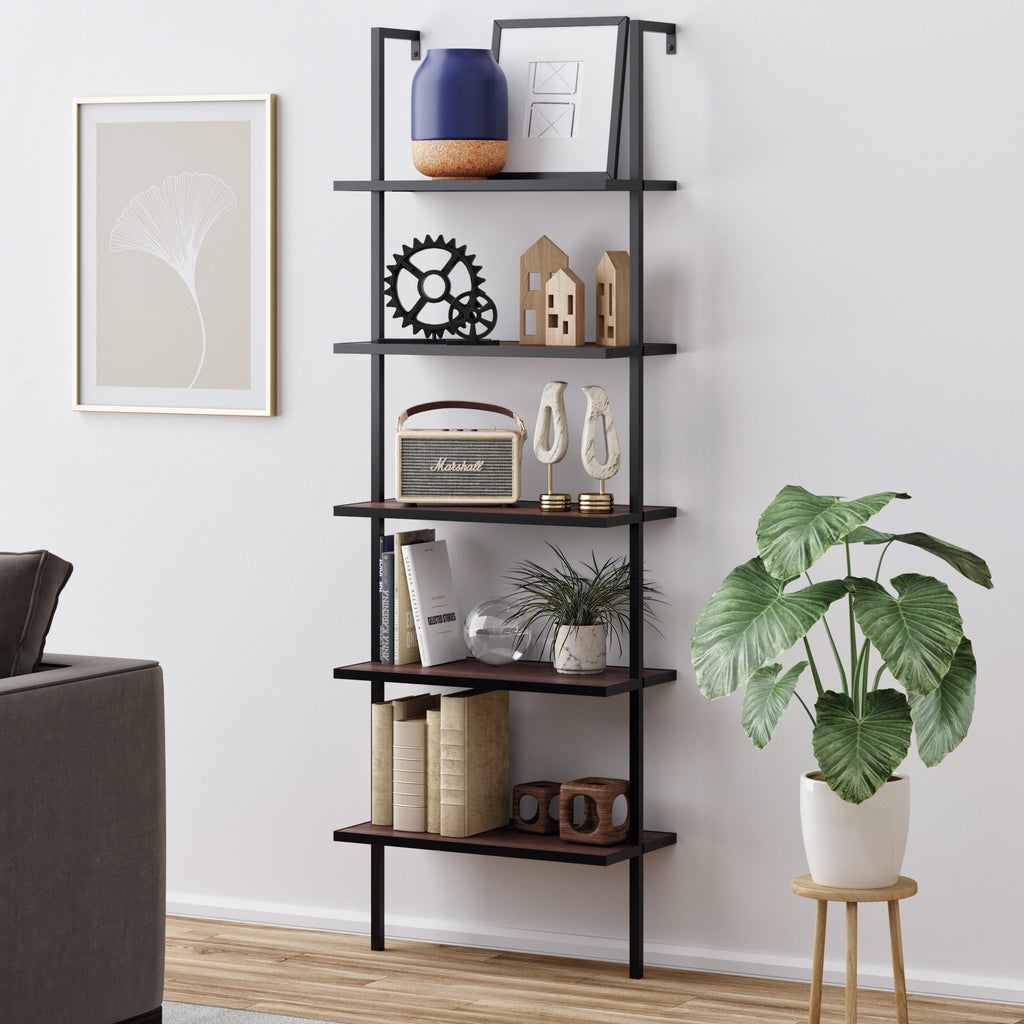 Theo 5-Shelf Ladder Bookcase Walnut Brown Wood Black Metal Frame