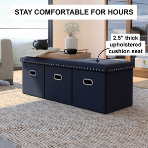 Payton Foldable Storage Ottoman Entry Bench and Footrest, Black