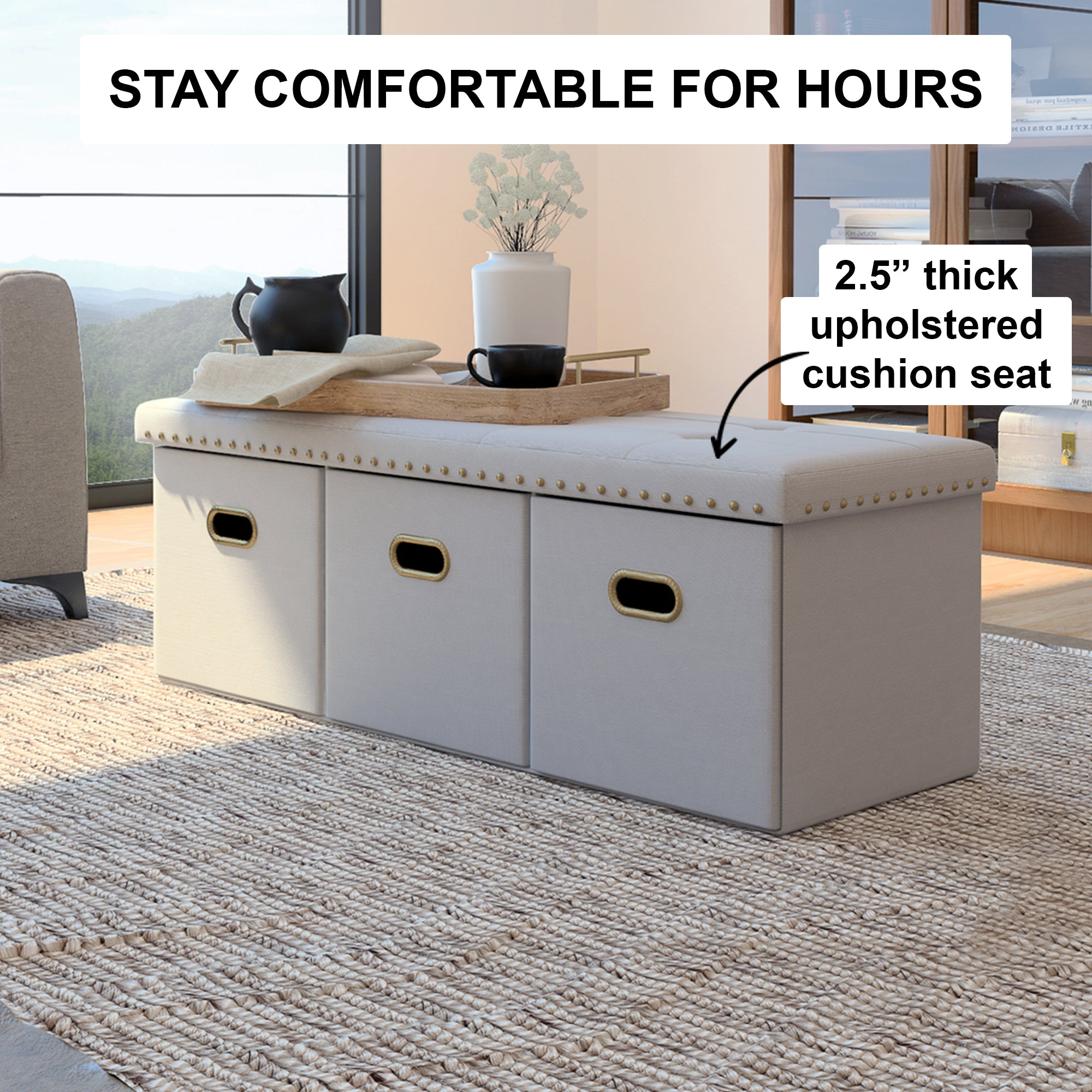 Payton Foldable Storage Ottoman Entry Bench and Footrest, Cream