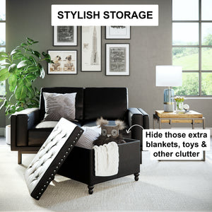 Payton Foldable Storage Ottoman Leather Square Seat, Black
