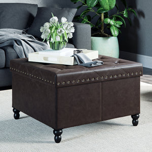 Payton Foldable Storage Ottoman Leather Square Seat, Brown