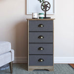 "Calvin 32"" Bedroom Dresser Storage Antique Oak Finish Wood, Charcoal Fabric Drawers, Brass Handle"