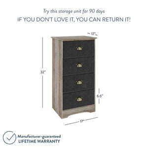 "Calvin 32"" Bedroom Dresser Storage Antique Gray Oak Finish Wood, Black Fabric Drawers, Brass Handle"
