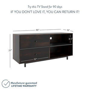 "Tora 46"" TV Stand Media Console Nutmeg Wooden Oak Finished Drawers with Metal Handle Black Metal Base"