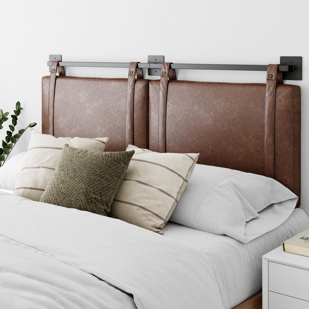 Harlow King Wall Mount Faux Leather Upholstered Headboard Adjustable Height PU Leather Straps Black Metal Rail Brown/Black