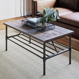 "Maxx Industrial Pipe Coffee Table 41"" Black Metal Frame Rustic Gray Top"