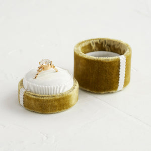 Antique Velvet Ring Box in Chartreuse