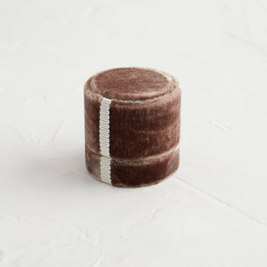 Antique Velvet Ring Box in Tan