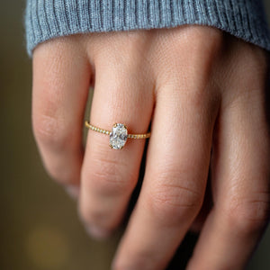 Unveiled Ring with Pave Band, 1ct. Oval Cut Diamond