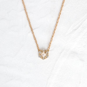 Snowflake Halo Necklace in Diamond