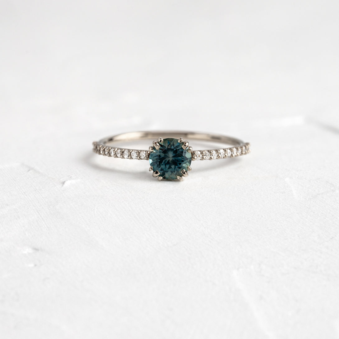 Blue Montana Sapphire Unveiled Ring with Pave Band, 0.68ct.