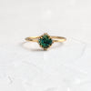 Green Montana Sapphire Unveiled Ring with Halo, 0.83ct.