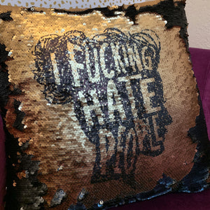 I Fucking Hate People Silhouette Pillow Cover