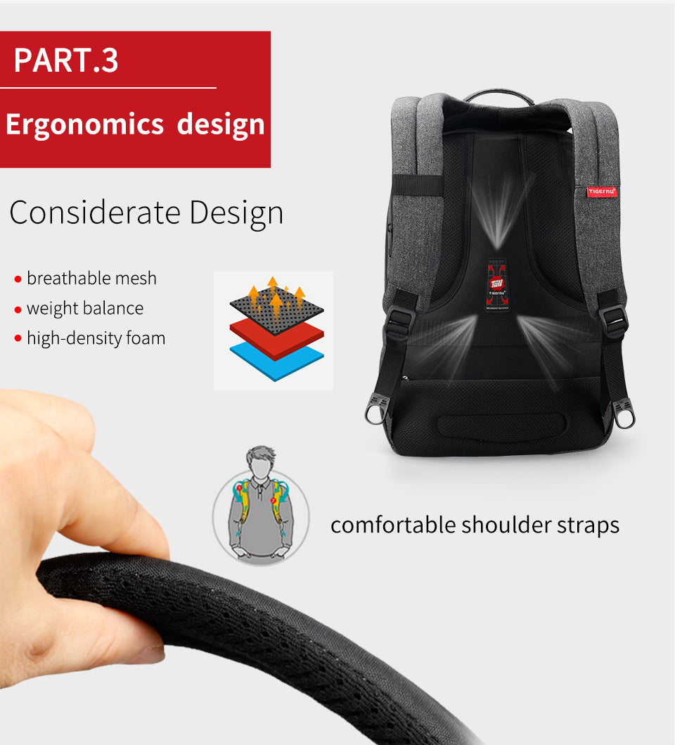 breathable and comfortable handle of business laptop backpack