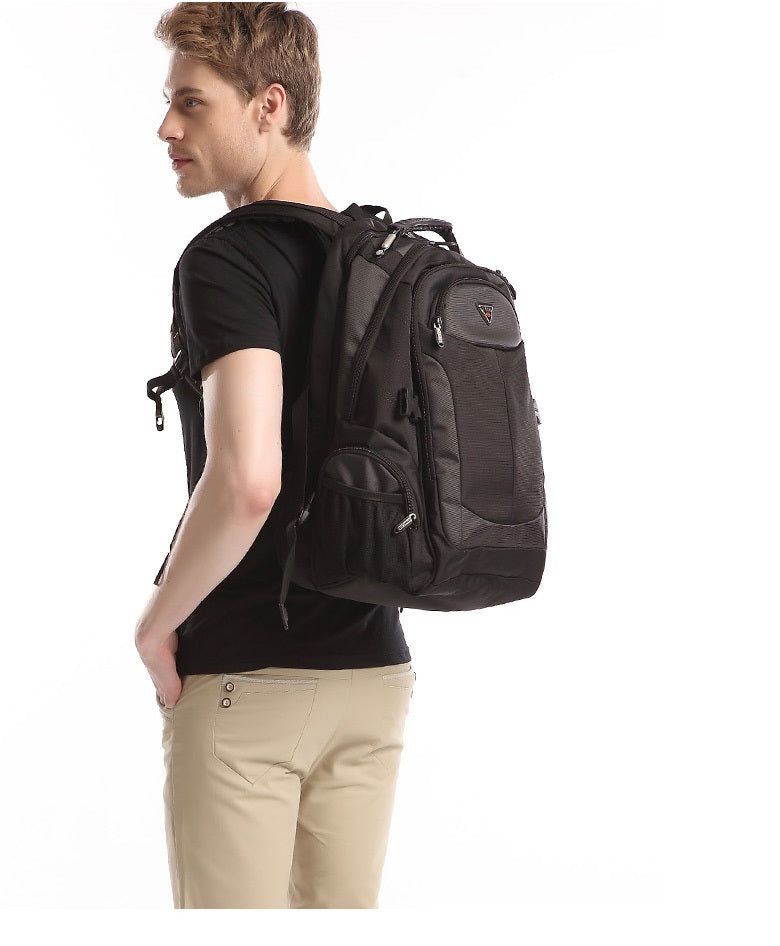 men with large laptop backpack