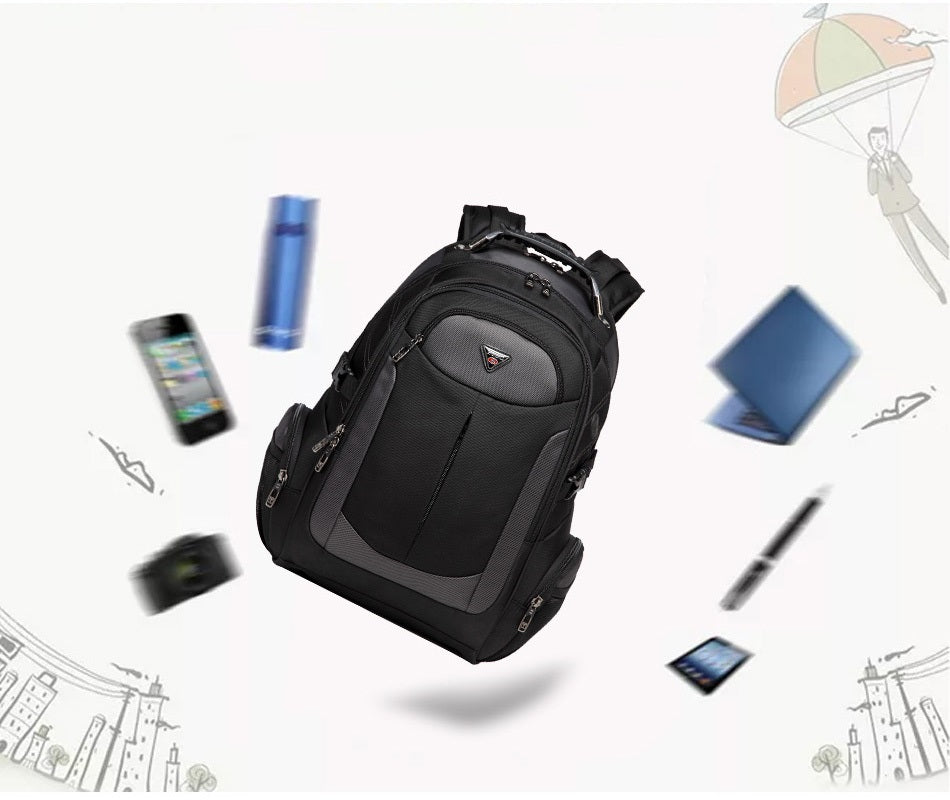 large travel backpack and gadgets around it