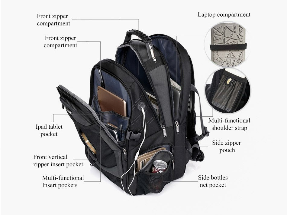 interior features of large travel backpack with laptop compartment