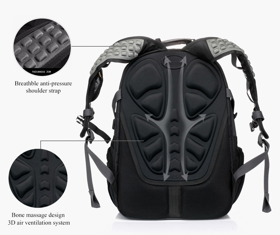 back support of large travel backpack