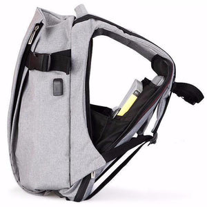 opened smart backpack with unique design - side view