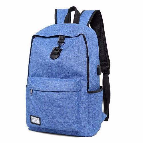 front view of classic blue backpack for women and man