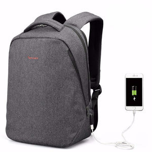 front view of backpack that charges your phone