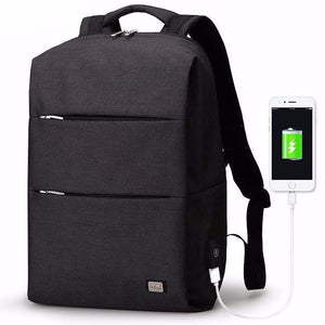 front view of anti theft backpack connected to phone
