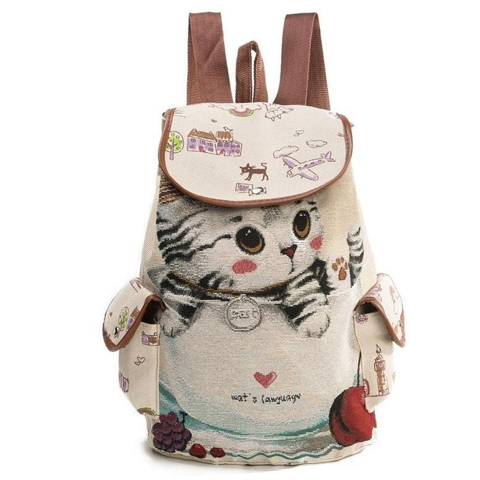 striped cat print on backpack for college
