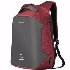anti theft backpack with USB charging port - front view (red)
