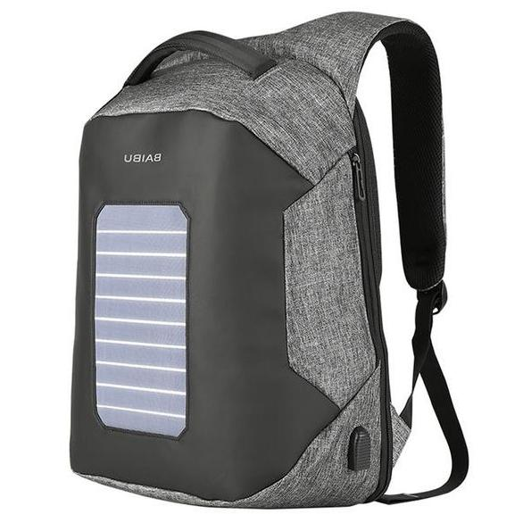 gray solar panel backpack with waterproof fabric