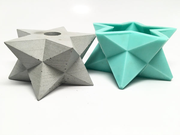 Star -  Stellated Dodecahedron - Double Merkabah Planter Mold - Silicone