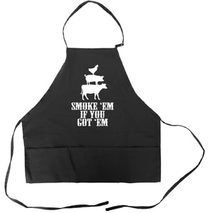 Funny BBQ Apron for Men Smoke Em If You Got Em Barbecue Grilling Aprons With Pockets Father's Day Gift Idea