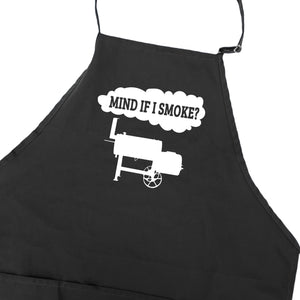 Funny BBQ Apron for Men Mind If I Smoke Offset Smoker Barbecue Grilling Aprons With Pockets Fathers Day Gift Idea