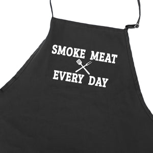 Funny BBQ Apron for Men Smoke Meat Every Day Barbecue Grilling Aprons With Pockets Fathers Day Gift Idea