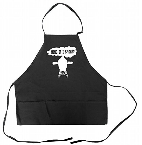 Funny BBQ Apron for Men Barbeque BGE Grilling Dad Aprons With Pockets Big Green Egg Accessory Mind If I Smoke Father's Day Gift Idea