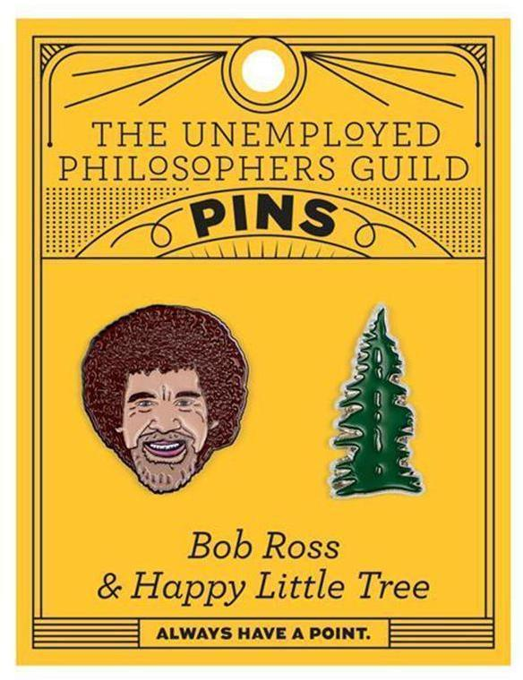 Bob Ross & Happy Little Tree Enamel Pins (Set of 2)