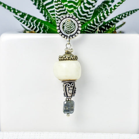 White Bone and Bali Bead Pendant