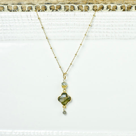 Labradorite Quatrefoil on Gold Chain